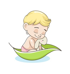 Kid with a toy in a boat vector