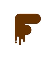 letter f chocolate font sweetness alphabet liquid vector image