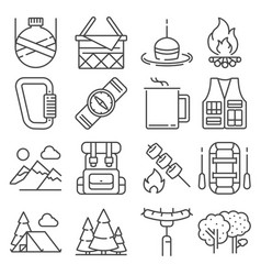 line camping and outdoor recreation icons set vector image