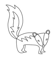 Line cute and sad skunk wild animal vector