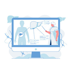Liver anatomy description flat vector