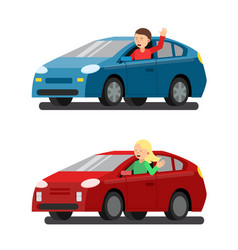 Male and female drivers in cars vector