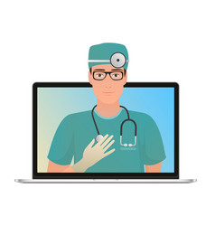 Male doctor with online medical vector