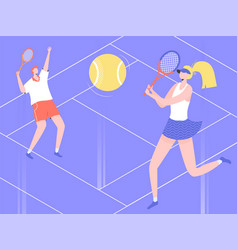 Man and woman play tennis on court vector