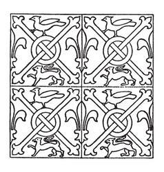 Medieval tile pattern is a stained glass design vector