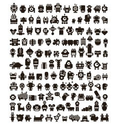 Mega set of small monsters and robots vector image