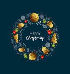 merry christmas gold low poly luxury greeting card vector image