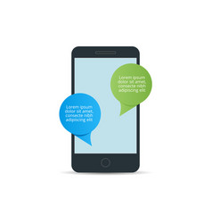mobile phone with messaging icon flat design vector image