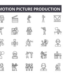 motion picture production line icons signs vector image