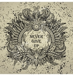 Motivation Never give up in ethnic frame vector
