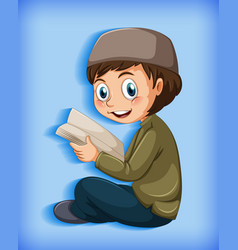 muslim kid reading books vector image