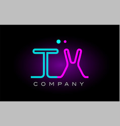 neon lights alphabet tx t x letter logo icon vector image