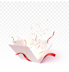Open gift box with confetti vector
