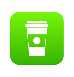 paper cup of coffee icon digital green vector image