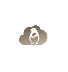 penguin cute animal for logo design in a cloud vector image