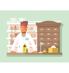 Pharmacist at pharmacy vector