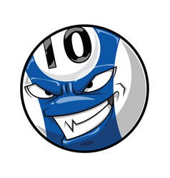Pool ball with angry face blue color number 10 vector