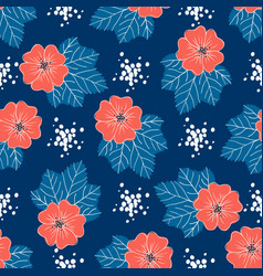 red-blue floral pattern trendy seamless floral vector image
