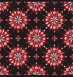 red mandala floral pattern on dark background vector image