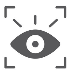 Retina scanner glyph icon recognition vector