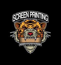 Screen printing logo design head tiger vector