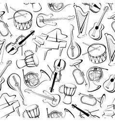 Seamless musical instruments pattern background vector