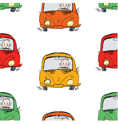 seamless pattern drivers on road vector image