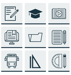 set of 9 school icons includes taped book vector image