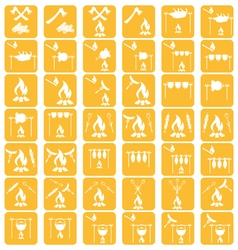 Set of campfire cooking iconss vector