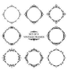 set of eight decorative vintage monograms on a vector image