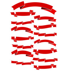 set of fifteen red cartoon ribbons vector image