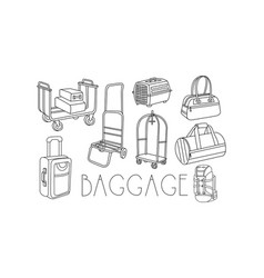 Set of hand drawn travel bags and trolleys vector