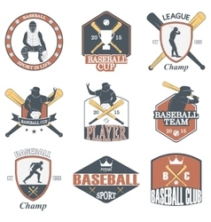 Set of vintage baseball labels and badges vector