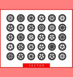 set tires and wheels disc wheel car icon vector image