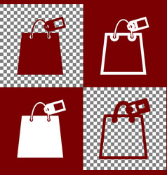 shopping bag sign with tag bordo and vector image