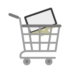 Shopping cart online computer digital vector
