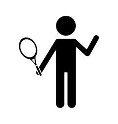 silhouette character player tennis and racket vector image