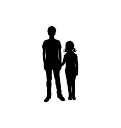 silhouettes boy and girl holding hands vector image