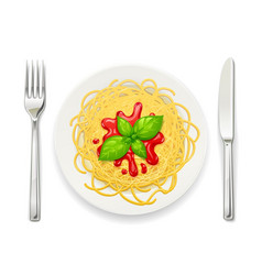 Spaghetti at plate pasta vector