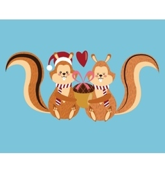 Squirrel cartoon of Christmas season design vector