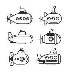 submarine icons set on white background vector image