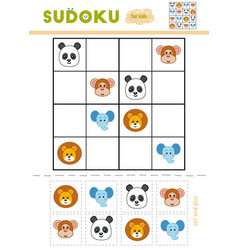 sudoku for children education game cartoon vector image