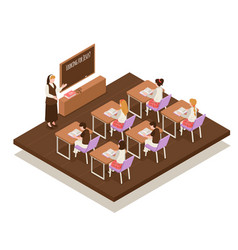 Sunday school isometric composition vector