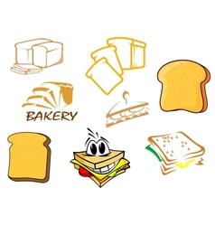 Toasts and bread icons vector image