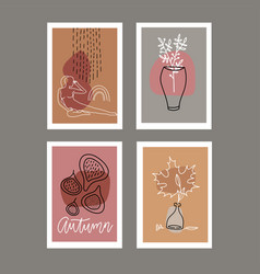 trendy set fall greeting cards invitations fig vector image