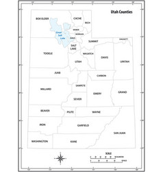 utah state outline administrative map vector image