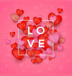 valentines day greeting card red and pink hearts vector image