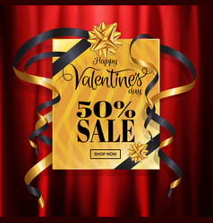valentines day sale background gold gift box with vector image