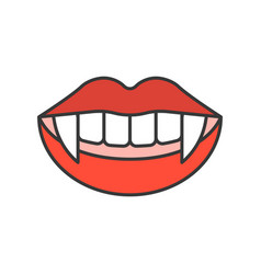 Vampire teeth halloween related icon filled vector