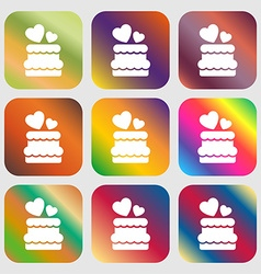 Wedding cake icon sign Nine buttons with bright vector